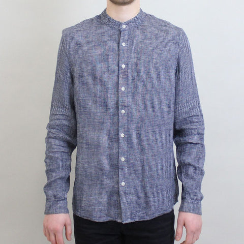 Pearly King Grandad Collar Shirt - Blue