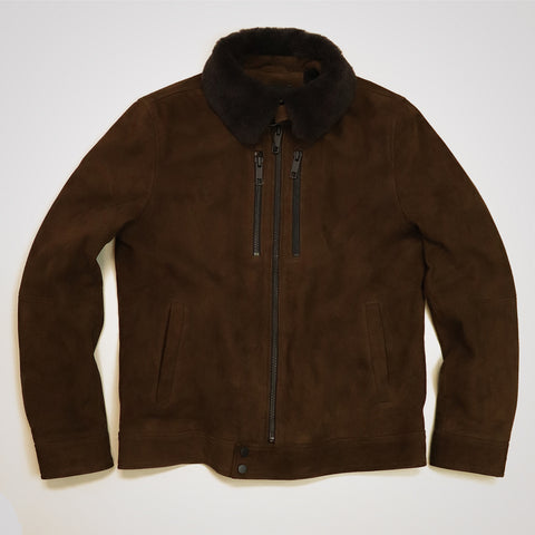 Antony Morato Shearling Collar Suede Leather Jacket - Brown