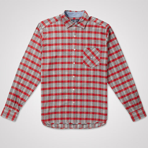 Psycho Bunny Checked Flannel Shirt - Heather Grey