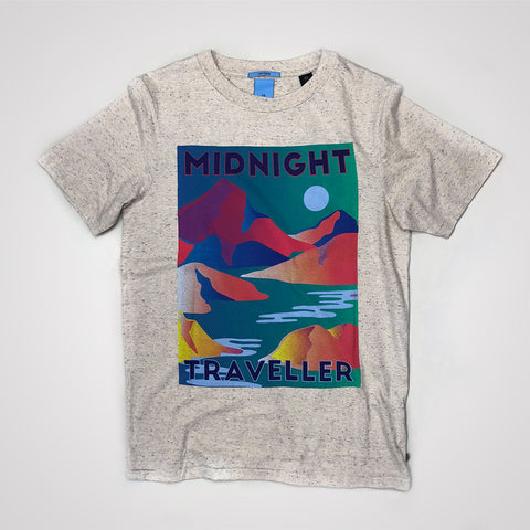 Scotch & Soda Artwork Melange T-Shirt - Ecru Melange