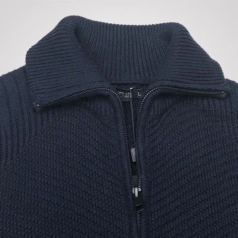 Antony Morato Zippered High Neck Cardigan - Navy