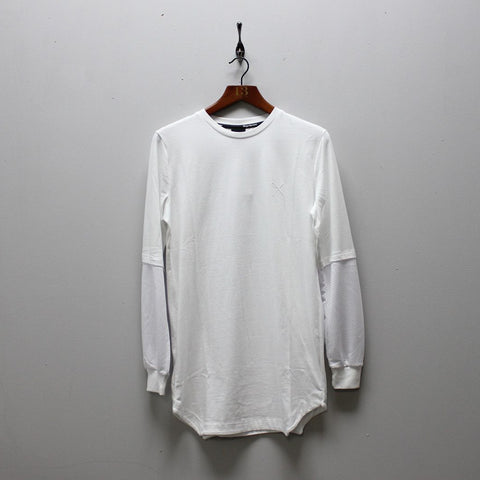 King Apparel Perf Longline Long Sleeve T-shirt - White