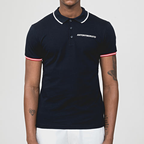 Antony Morato Embossed Logo Polo Shirt - Navy