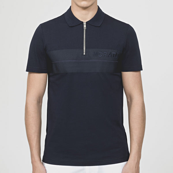 Antony Morato Embroidered Detail Zip Polo Shirt - Navy