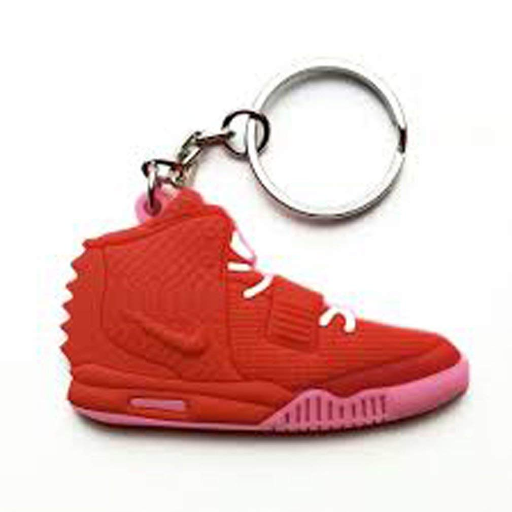 Yeezy 2 II Red October Pure Platinum Sneaker Solar Red AJ 23 Keychain Keyring