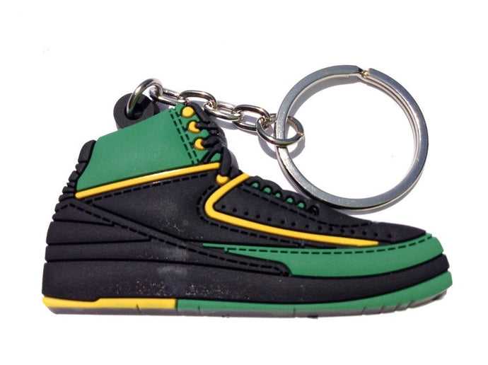 Air Jordan 2/II OG Nightshade Volt Green/Black Sneakers Shoes 2D Keychain Keyring Keyloop
