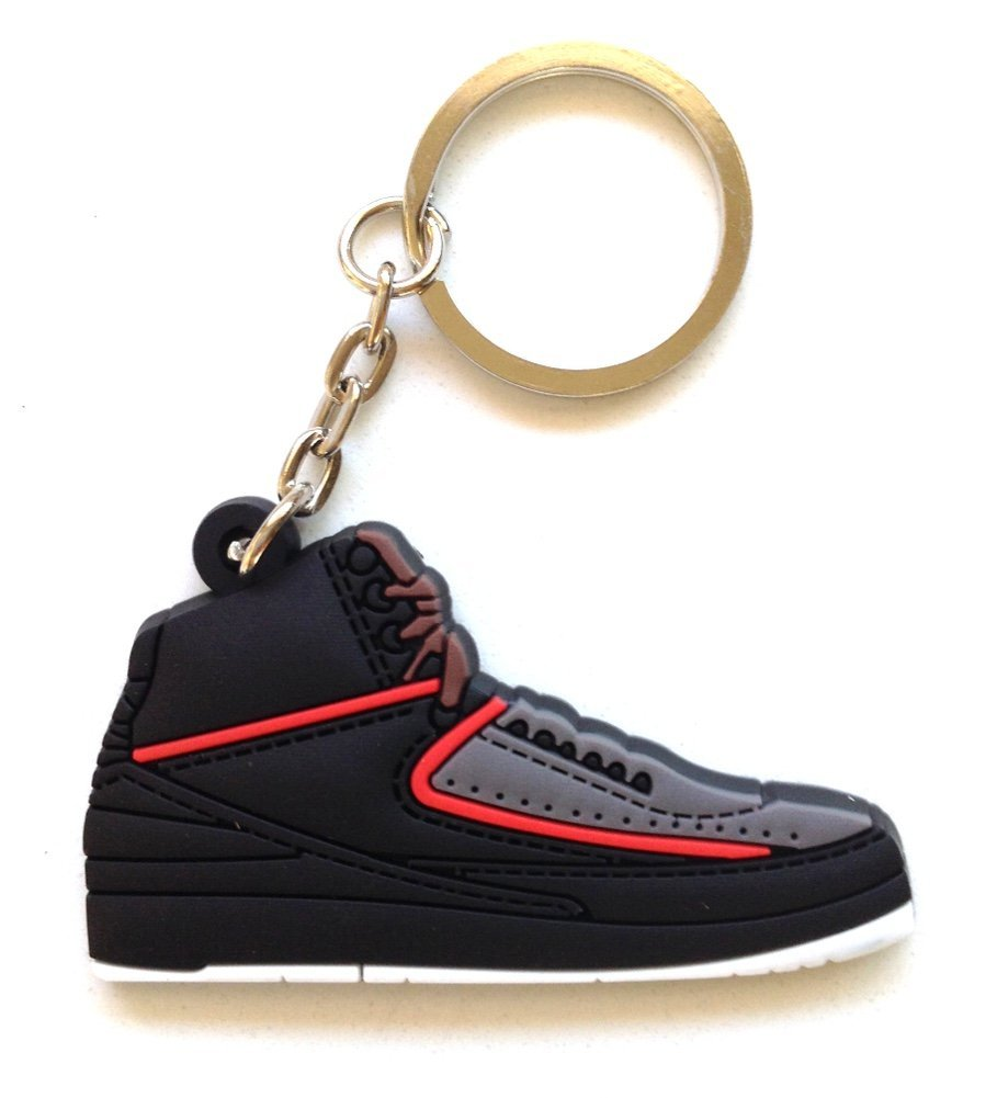 Air Jordan 2/II Alternate Black/Red Sneakers Shoes 2D Keychain Keyring Keyloop