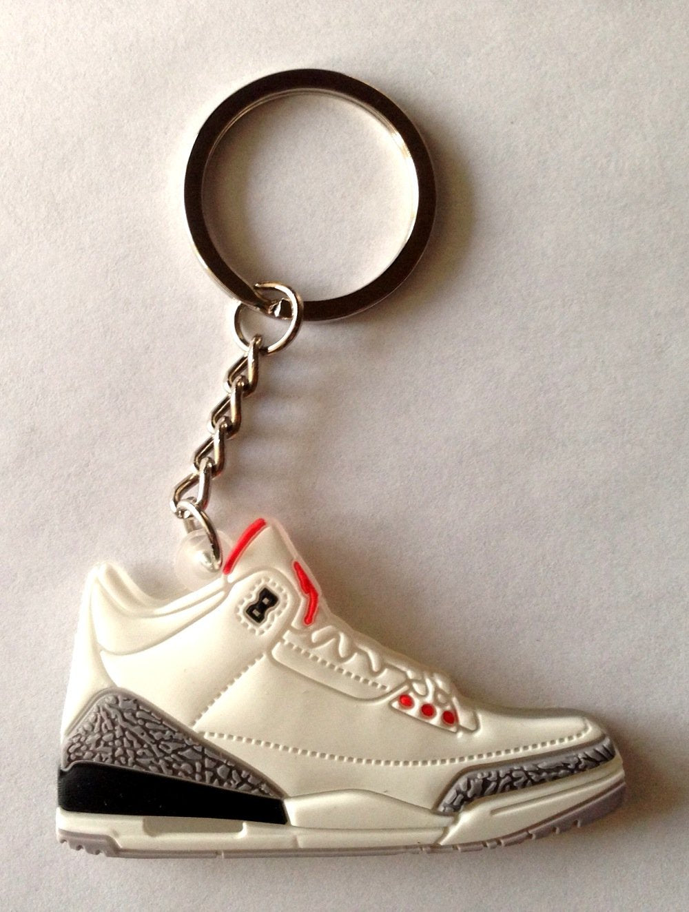 Air Jordan 3/III Cement 88 OG White Sneakers Shoes 2D Keychain Keyring