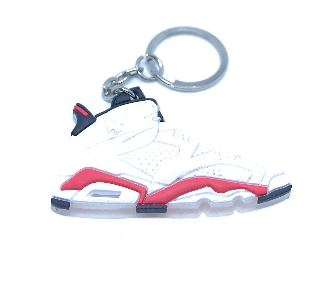 Air Jordan Retro 6 White Red Black Shoe Keychain Collectable
