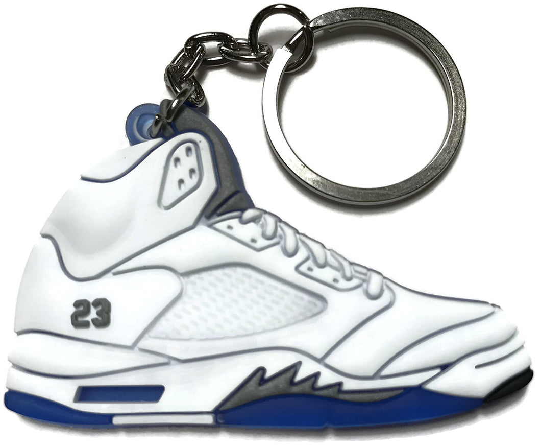 Air Jordan Retro 5 White Blue Gray Shoe Keychain Collectable