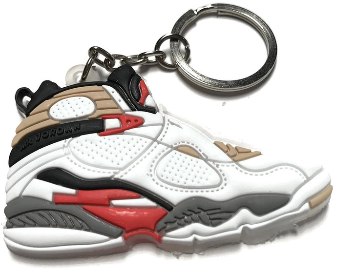 Air Jordan Retro 8 Bugs Bunny White Red Black Gray Shoe Keychain Collectable