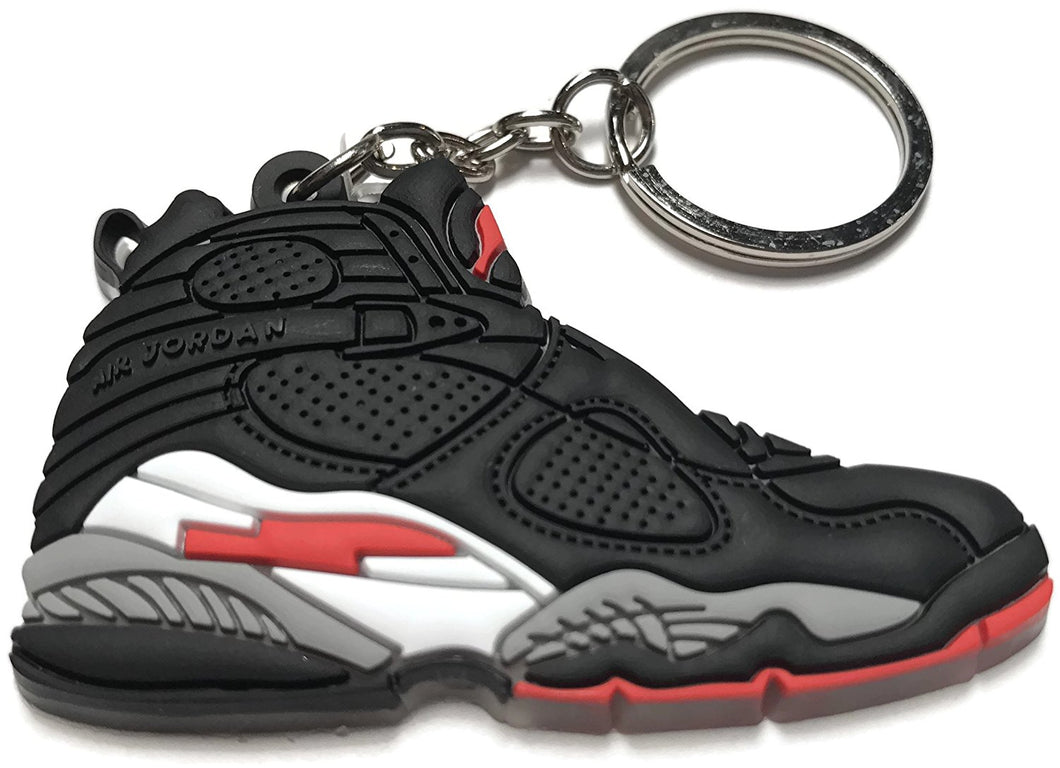 Air Jordan Retro 8 Black White Red Shoe Keychain Collectable