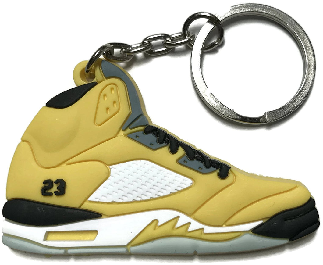 Air Jordan Retro 5 Yellow White Black Shoe Keychain Collectable