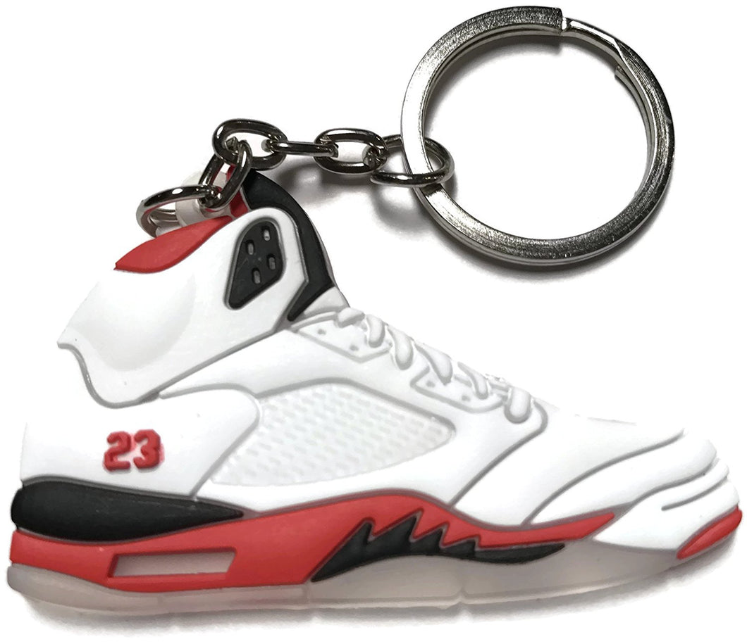 Air Jordan Retro 5 White Red Black Shoe Keychain Collectable