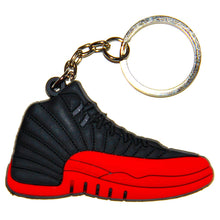 "Nike Jordan 12 XII Black Red ""Flu Game"" 2D Flat Sneaker Keychain"
