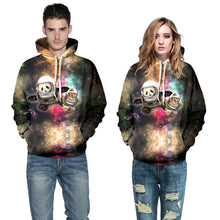 "EDM EDC "" Space Duo; Panda and Cat "" Graphic Hoodie Tech Gear Collection"