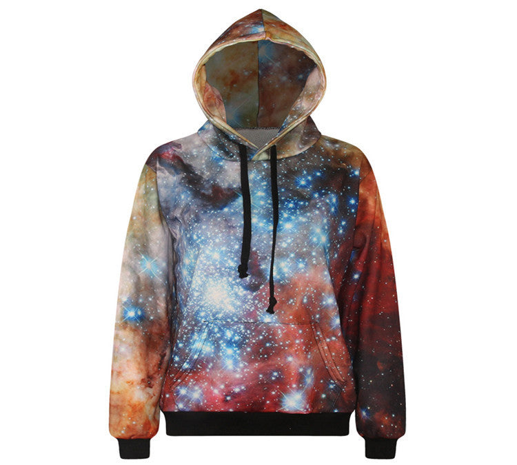 Women Loose Hoodies Fashion 3D Galaxy Printed Pullovers Sweatshirts Casual Long Sleeve
