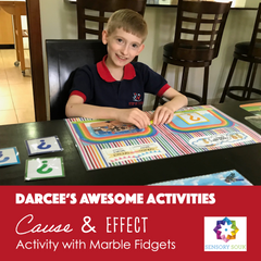 Cause & Effect activity with marble fidgets