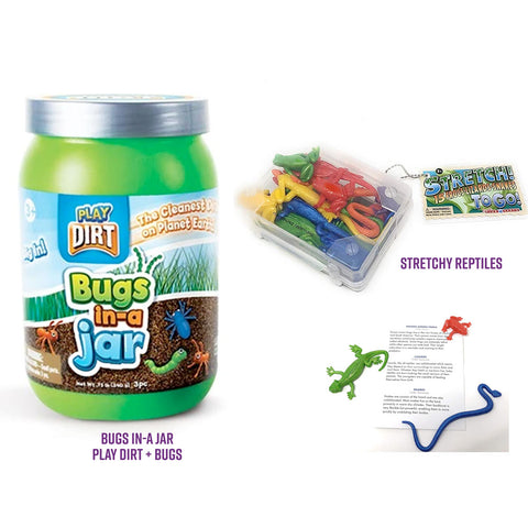 Bundle: Bugs in-a Jar Play Dirt + Stretchy Reptiles