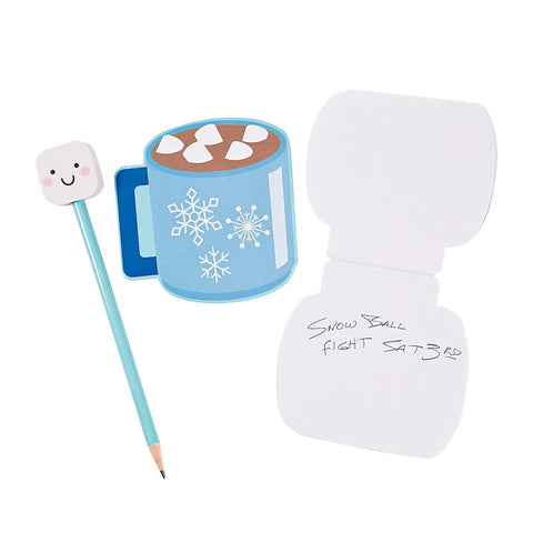Marshmallow Pencil & Hot Cocoa Notepad
