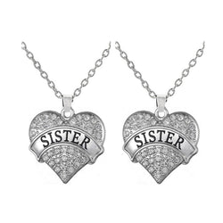 Silver Plated Best Friends / Family Member Crystal Heart Saying Sister Pendant Necklace Girls Jewelry - onlinejewelleryshopaus