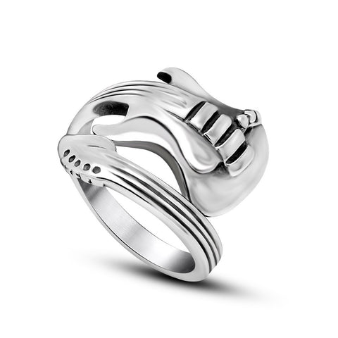 2016 New Fashion Jewelry Stainless Steel Mens Ring Titanium Steel Engraved Guitar Punk Rock Classic Rings for Men,KR711 - onlinejewelleryshopaus
