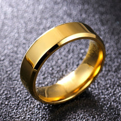 6mm Bright Polish Gold Color Titanium Ring For Men