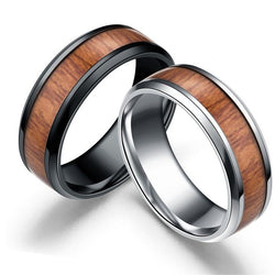 width 8mm dull polish smooth circles inside trend round brief stainless steel wood rings man good quality drop ship ok fj838