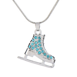 Myshape Jewelry Cute Silver Plated 3D Ice Skate Skater Turquoise Pink Crystal Rhinestone Pendant Necklace for Girls Teens Women - onlinejewelleryshopaus