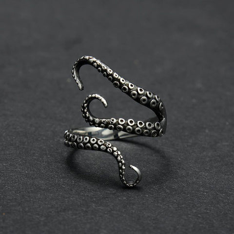 Gothic Punk Titanium Steel Deep sea Octopus Finger Opened Ring for Women Men Fashion Jewelry Adjustable Size Free Shipping - onlinejewelleryshopaus