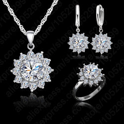 New Hot Fashion SunFlower Women Cubic Zirconia 925 Sterling Silver Pendant Necklaces Earrings Rings Sets For Wedding Jewelry