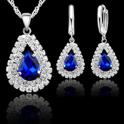 Hot Sale 925 Sterling Silver Jewelry Sets Austrian Crystal Water Drop Bridal Necklace Hoop Earrings Women Party Gifts