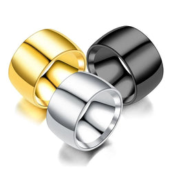12mm Wide Men's Rings Stainless Steel Glossy Face Gold Black Silver Color Rings