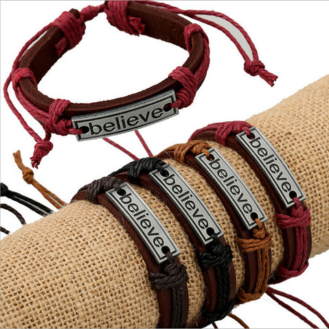 12pcs/lot Free Shipping Charm Vintage Multilayer Charm Leather Bracelet Women Believe Bracelets Cheap Jewelry Best Friends Gift - onlinejewelleryshopaus