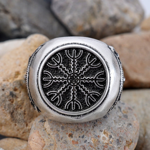Viking Ring Agiskhyalm Amulet Ring Scandinavian Norse Jewelry Men Ring 2016 Bague Slavic - onlinejewelleryshopaus