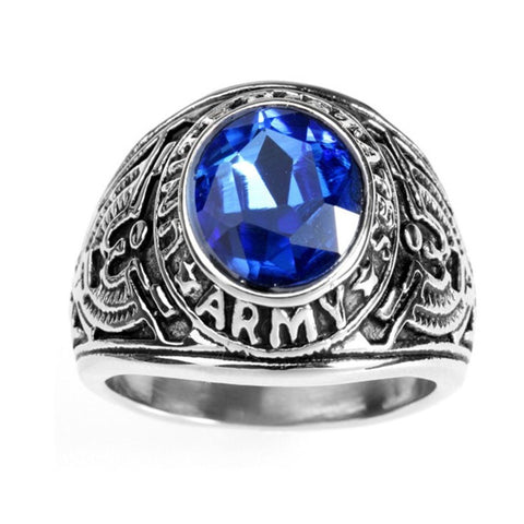 Wholesale Men's Silver Balck United States Army Ring,Stainless steel Vintage US Military Band Ring with Glass,Party Jewelry - onlinejewelleryshopaus
