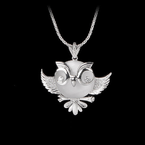 Fashion Animal Jewelry Accessories Cute Crystal Opal Owl Pendant Necklace For Women Top Quality - onlinejewelleryshopaus