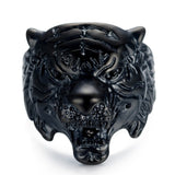 European and American retro animal ring stainless steel casting personality trend tiger head ring