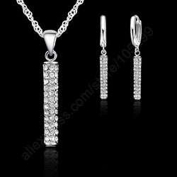 925 Sterling Silver Top Quality Fashion Wedding Jewelry Sets For Women CZ Crystal Pendant Necklace Hoop Earring Sets Lover