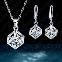 Happy Cube 925 Sterling Silver Fine Jewelry Sets Inside Cubic Zirconia Square Pendant Necklace Earring Wedding Set Gifts
