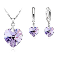 Romantic Violet SW Crystal Ocean Heart 925 Sterling Silver  Pendant Necklace Earring   Jewelry Set With Lever Back Earring