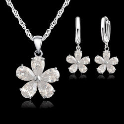 Newest Wedding Jewelry Sets Necklace Earring Jewelry Sets Cubic Zirconia CZ Jewelry Set 925 Sterling Silver  Jewelry Set