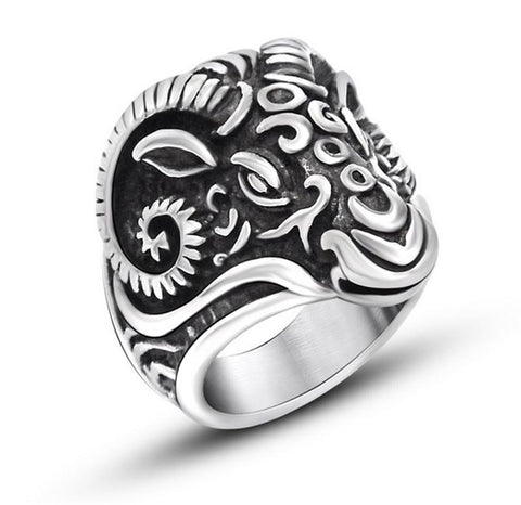 Hot Sale!! New Fashion Huge Gothic Ram Goat Carving Skull Silver Men's 316L Stainless Steel Punk Biker Finger Ring - onlinejewelleryshopaus