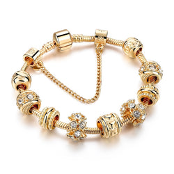 Gift!!! Gold Charm Bracelets For Women Heart Bracelets Bangles With Crystal Beads DIY Jewellery Pulsera 2016 SBR160241 - onlinejewelleryshopaus