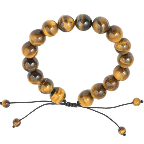 Yoga Chakra 12 mm Tiger Eye Stone Bracelet For Man Adjustable Nature Stone Beads Bracelets Spirit Buddha Yoga Healing Jewelry - onlinejewelleryshopaus