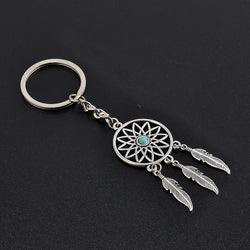 2016 Fashion Dream Catcher Tone Key Chain Silver Ring Feather Tassels Keyring Keychain For Gift Free Shipping GM572 - onlinejewelleryshopaus