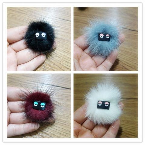 New metal real leather round Little monster fur ball earring for women earrings - onlinejewelleryshopaus