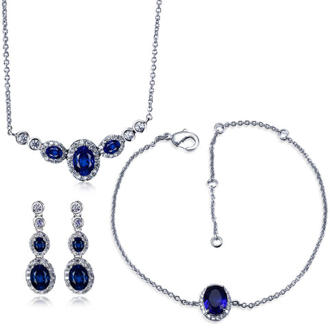 Fashion jewelry Bridal Jewelry Sets rhodium plated with AAA CZ 3pcs sets ( necklace + bracelet + earring) free shipment - onlinejewelleryshopaus