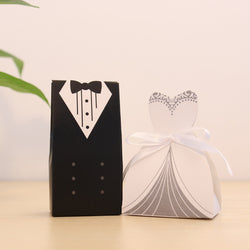 New 100Pcs Bridal Gift Bag Cases Groom Tuxedo Dress Gown Ribbon Wedding Favor Candy Box - onlinejewelleryshopaus