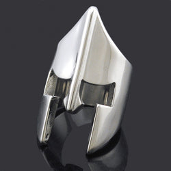Cool Spartan  Helmet Mask Silver / Black Rings For Men Stainless Steel New Fashion Punk Rock Style 2016 Fine Party Gift BR498 - onlinejewelleryshopaus